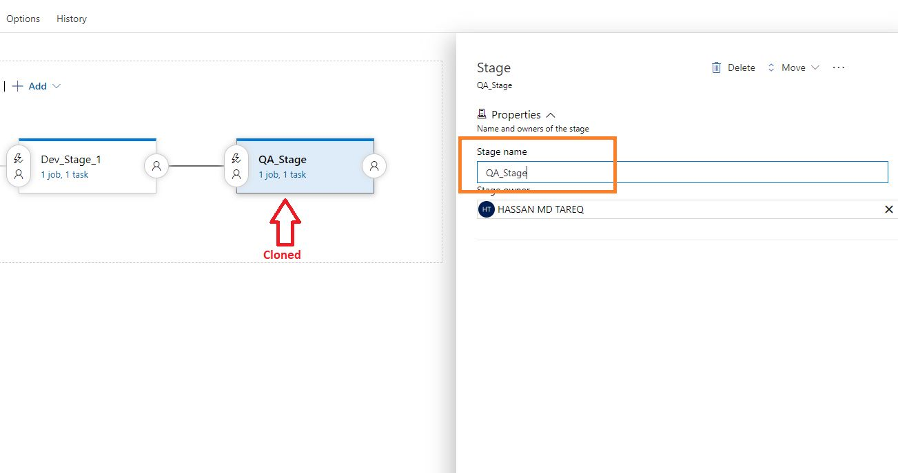 Azure DevOps - Cloning release pipeline stage Step 2